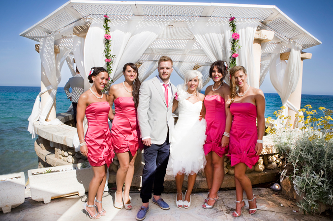 Groom and bridesmaids wedding majorca spain