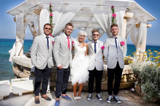 Bride and ushers wedding Majorca