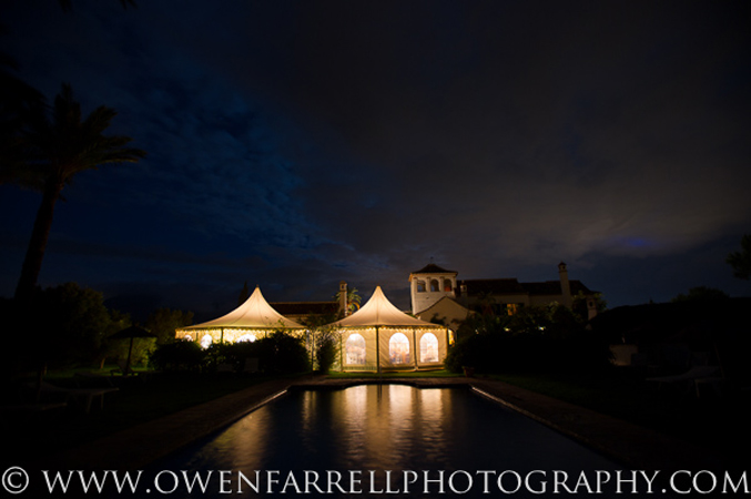 Private wedding villa at night