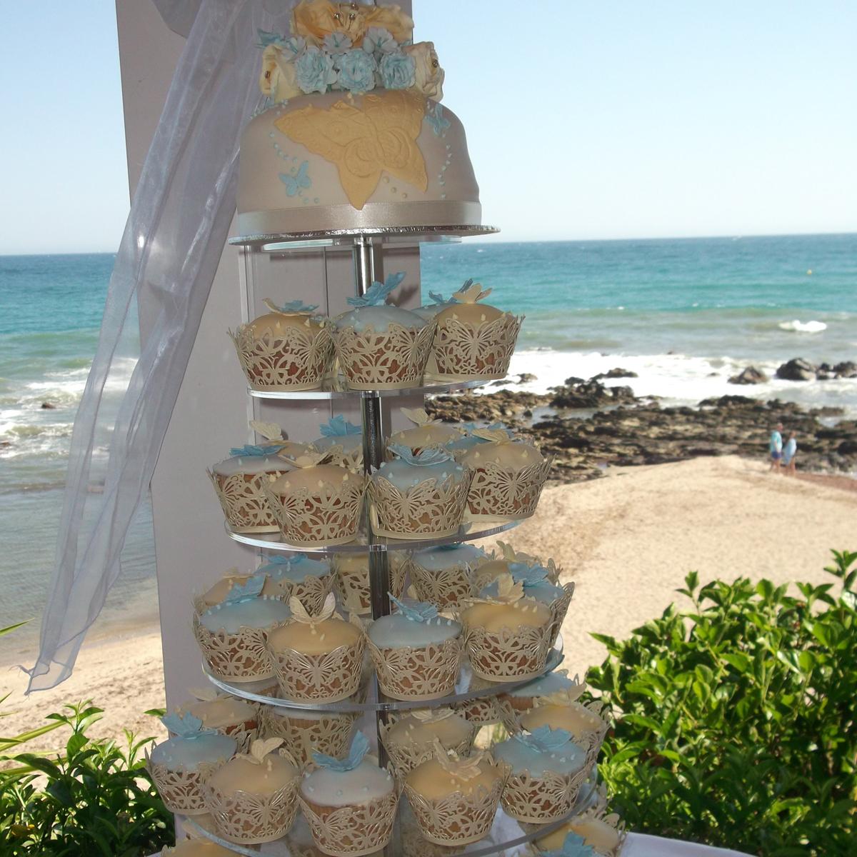 Spanish beach theme wedding cake