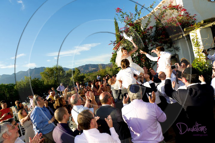 Jewish wedding guests at party in spain