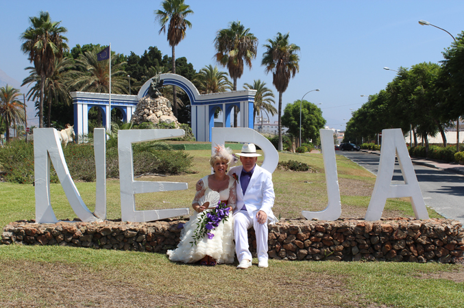 Bride and groom Nerja Spain