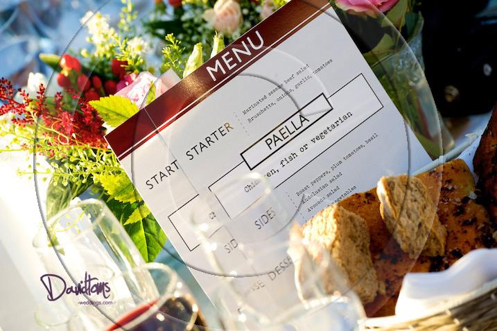 Spanish wedding Menu