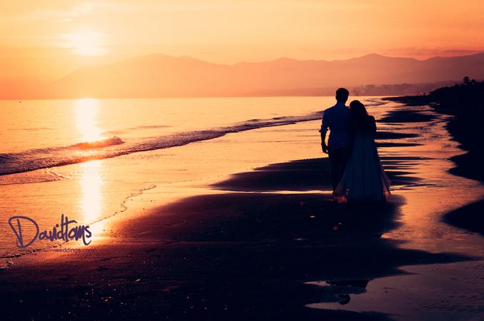 bride and groom spanish sunset
