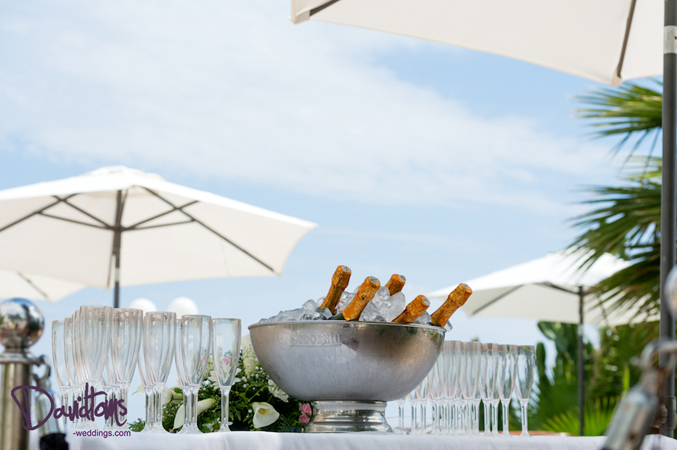 Champagne reception at a wedding in Spain