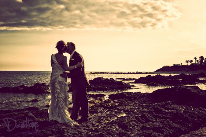 bride and groom wedding photo in spain