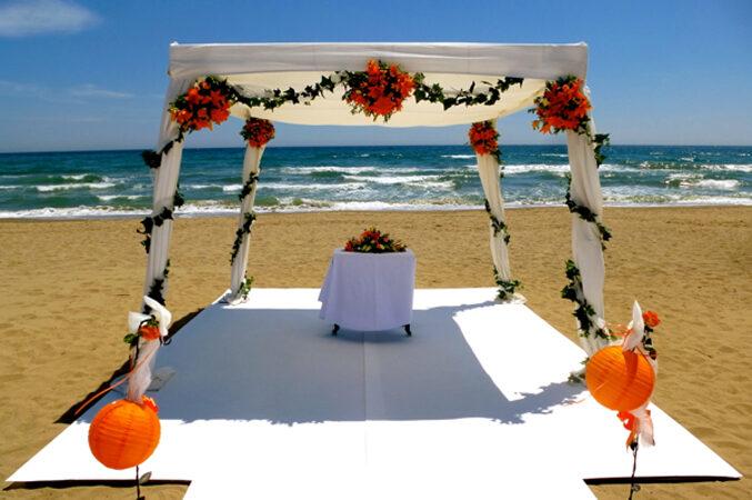 wedding chuppah set up for beach wedding in Marbella