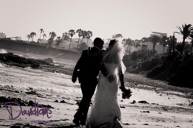 beach wedding bride and groom in Spain
