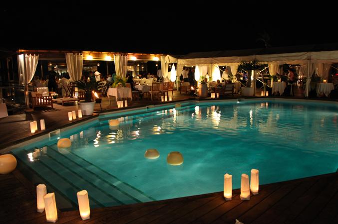 beach club wedding venue in Majorca at night