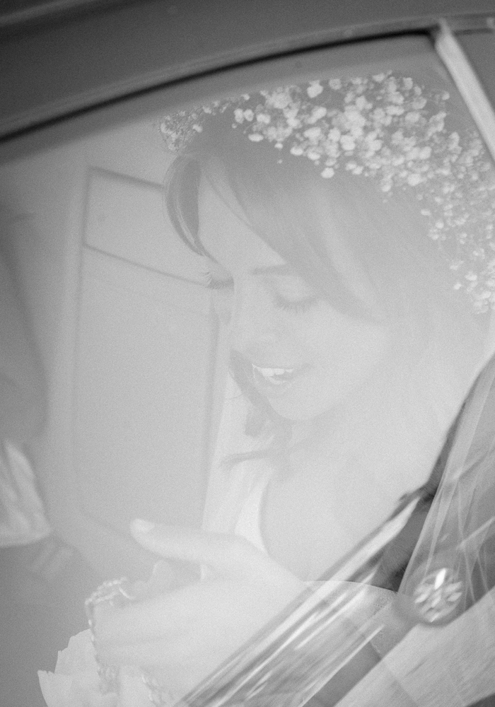 bride arriving at her wedding in majorca