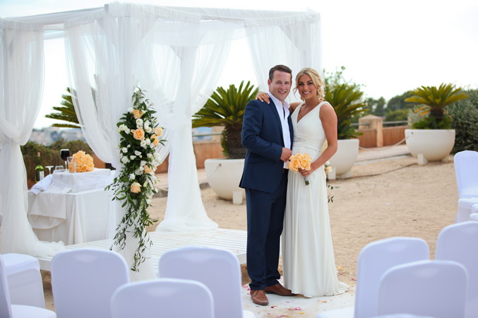 Bride and groom getting married in Majorca
