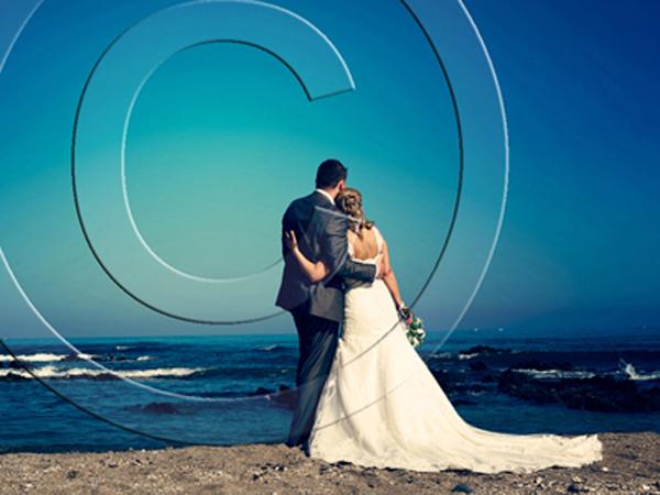 bride & groom at beach wedding venue in Spain