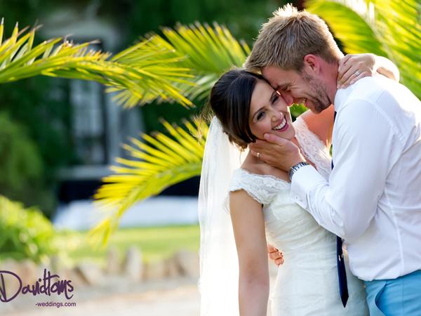 Bride & groom at wedding venue in Spain