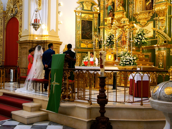 Wedding ceremony in church in Marbella
