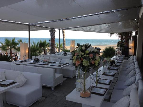 dinner at beach wedding in Spain