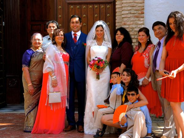 family wedding photo in Marbella Spain