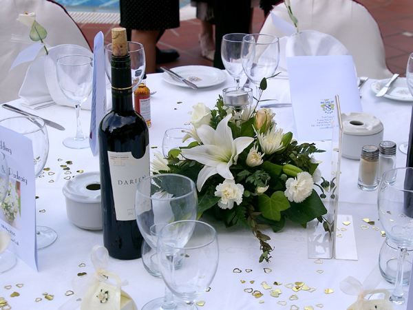 Table decorations at wedding in Spain