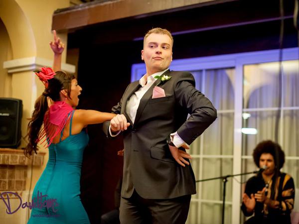 Guest with flamenco dancer at Wedding Villa Venue in Marbella