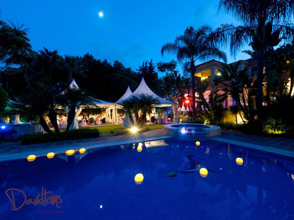 Night shot at wedding Villa venue in Marbella