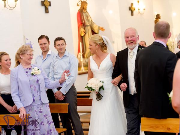 bride-&-dad in church in Spain