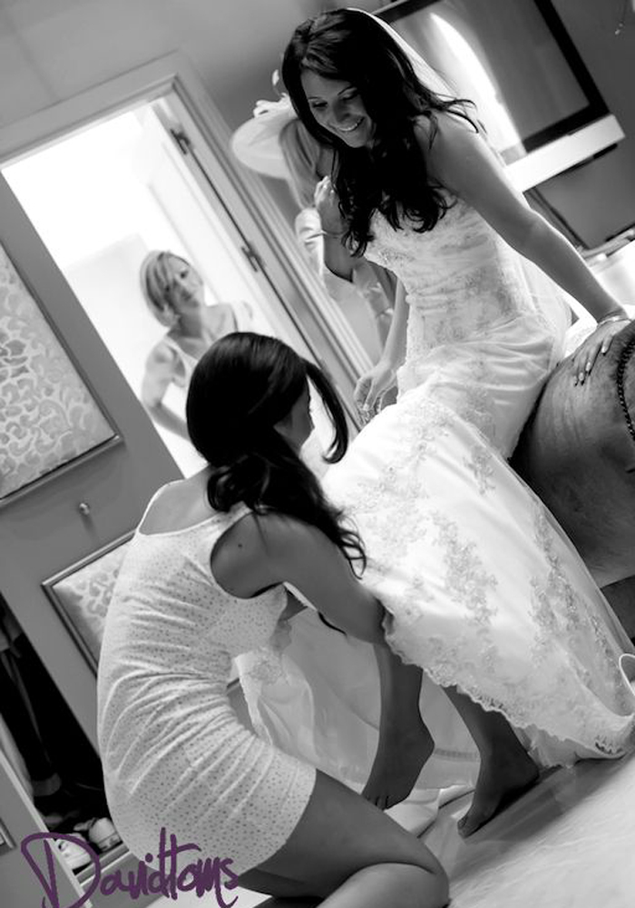 Bride getting ready at her Spanish Villa Wedding Venue