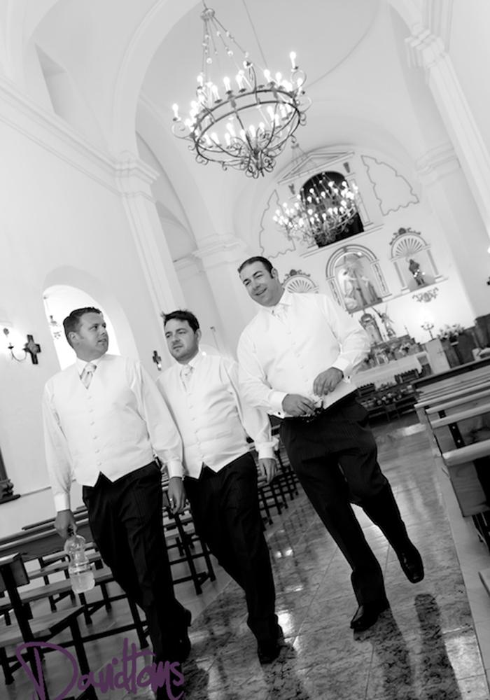groom-ushers in church wedding venue in Spain