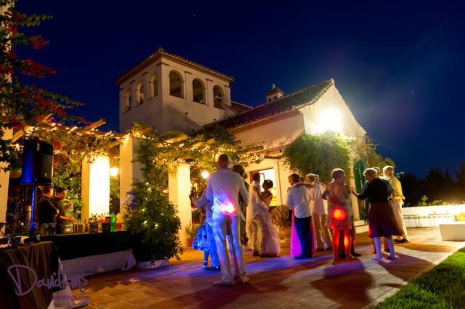 Lisa & Simon's wedding venue in Spain at night