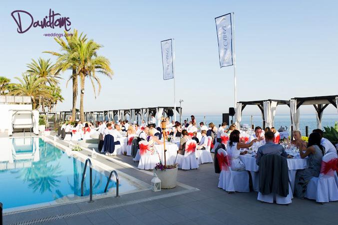 Beach club wedding venue in Spain