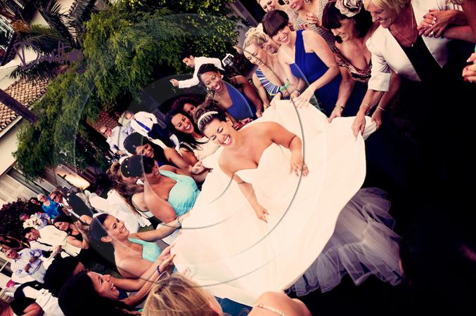 bride dancing at her wedding in Spain