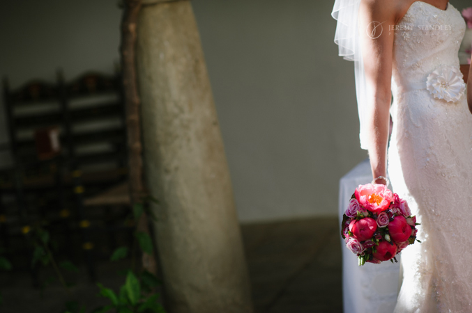 Stunning brides dress at her wedding venue in Spain