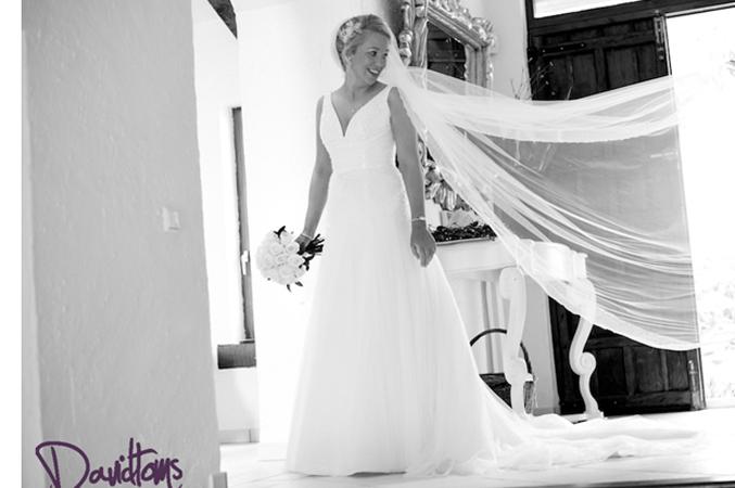 Fairytale wedding dress as bride prepares to get married in Spain
