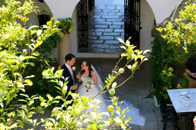 Bride & groom at their wedding venue in Spain