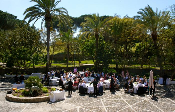 wedding banquet at rustic wedding venue in Spain