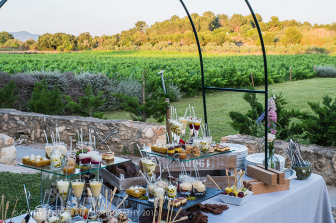 buffet style dinner at a wedding venue in Spain