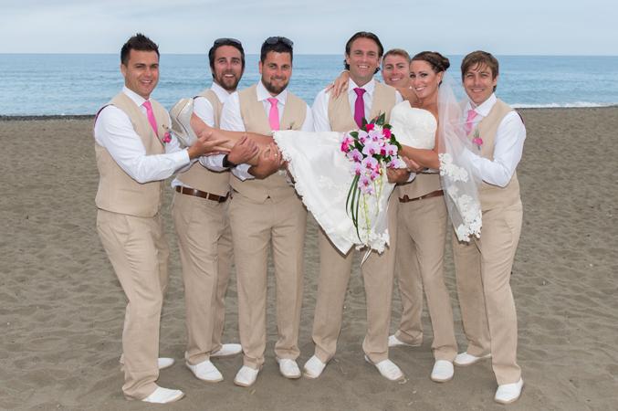 Bride-and-groomsmen-beach-wedding-in-Estepona-Spain
