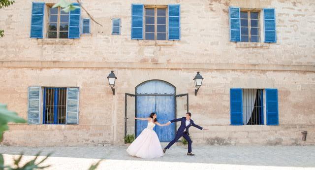 Newlyweds outside their wedding villa in Mallorca