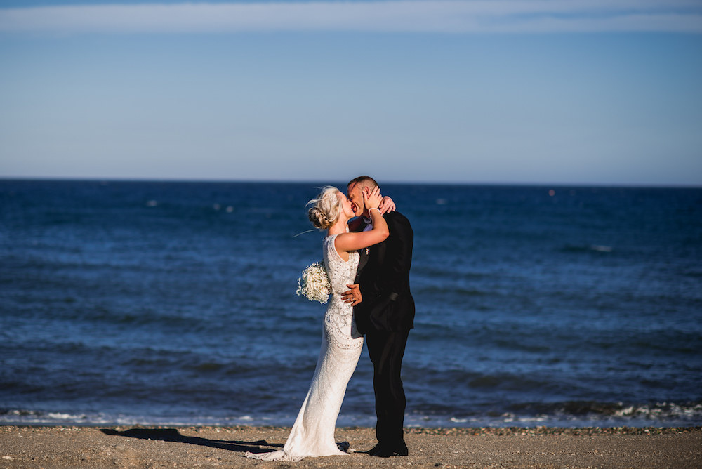 Bridal couple on Estepona Beacg
