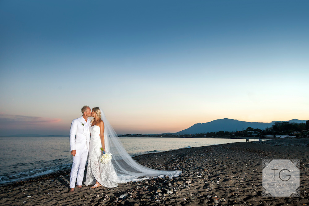 Bridal couple on Beach Spain