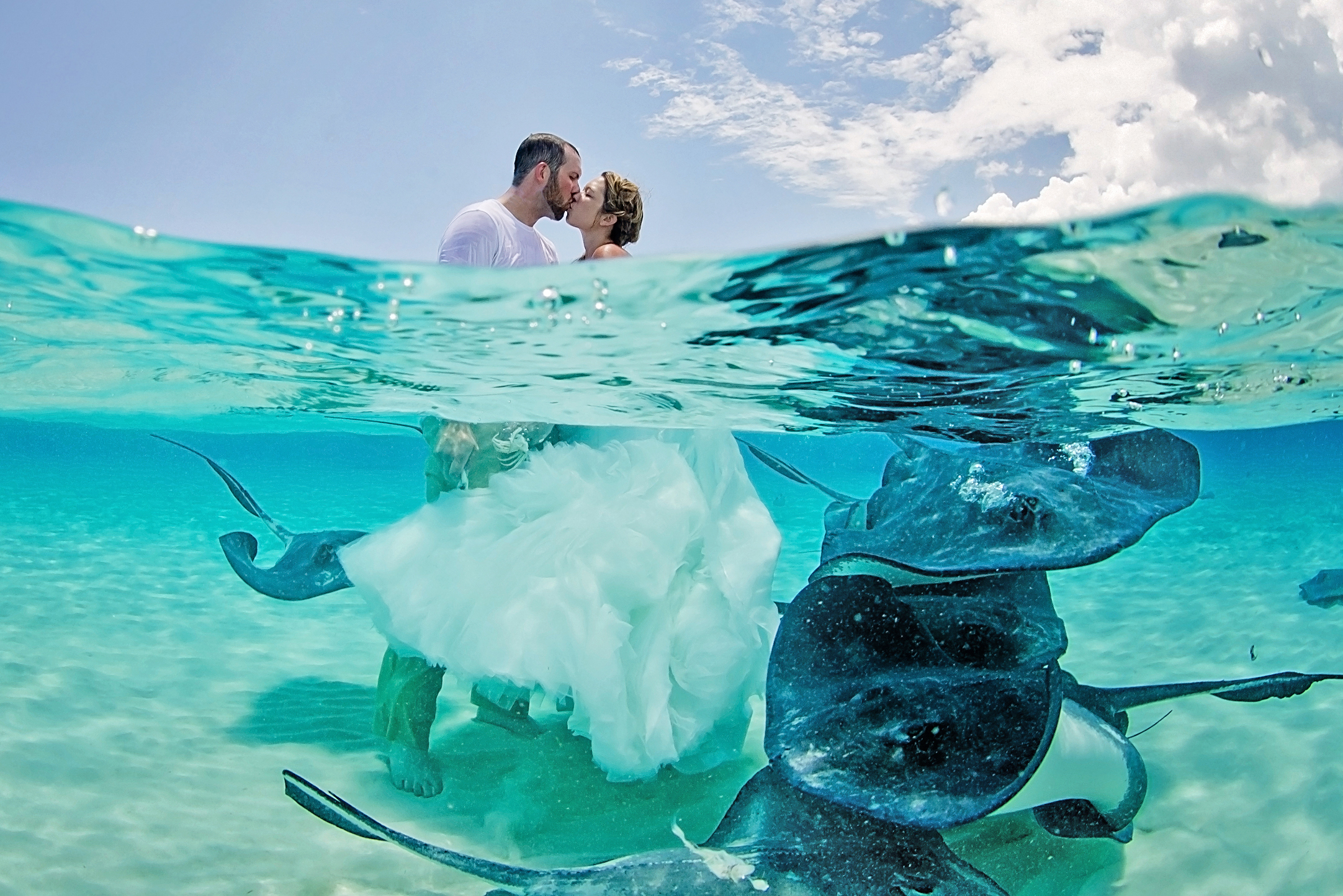Bridal Couple in the Carribean Sea