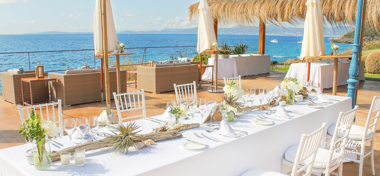 Beach club wedding Mallorca