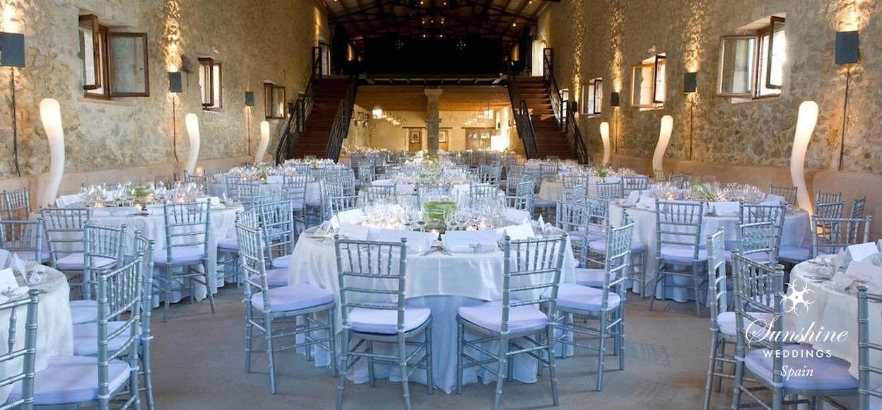 Rustic Finca Mallorca wedding tables inside