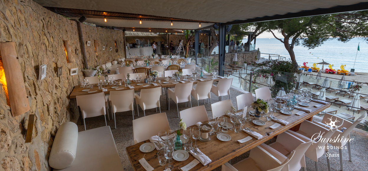 Tables at a wedding in Mallorca