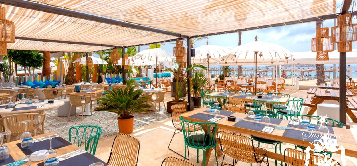 Beach club wedding Mallorca