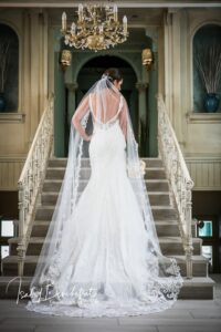 Intricate back detail of a bride in her bridal gown
