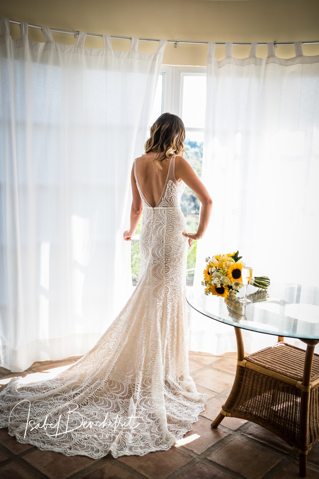 A beautiful bride in her gown
