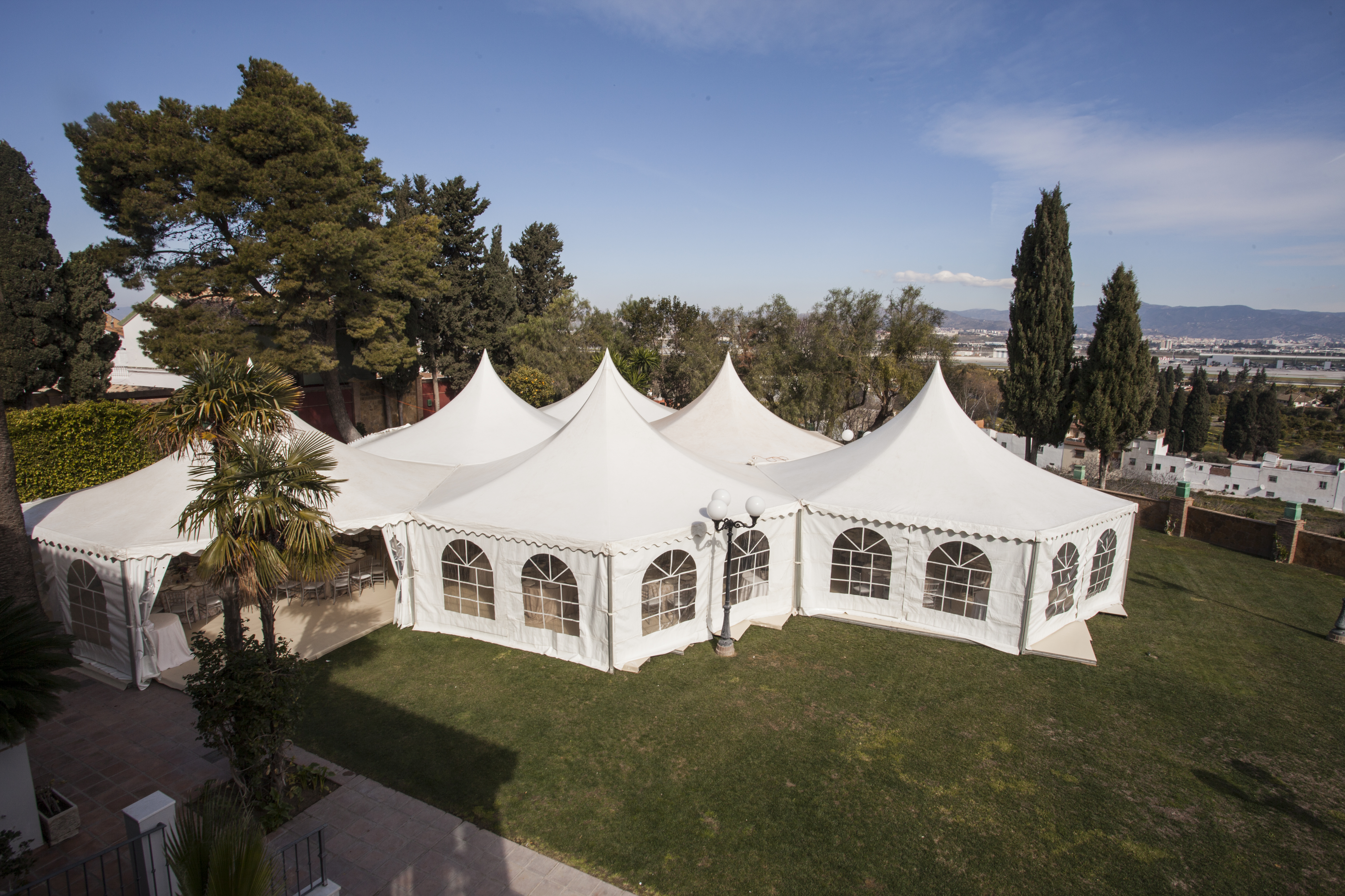 The elegant white domes of a wedding tent