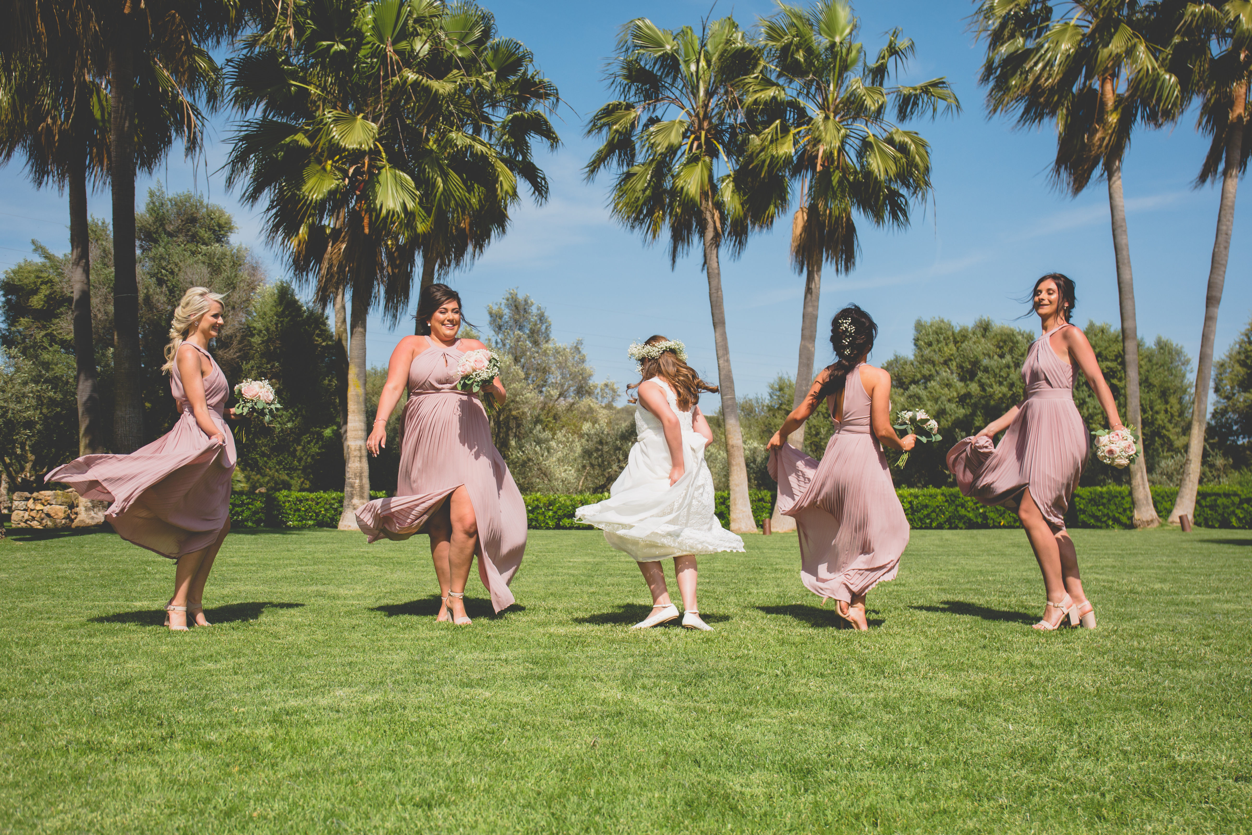 The bridesmaids in the grounds of the Finca