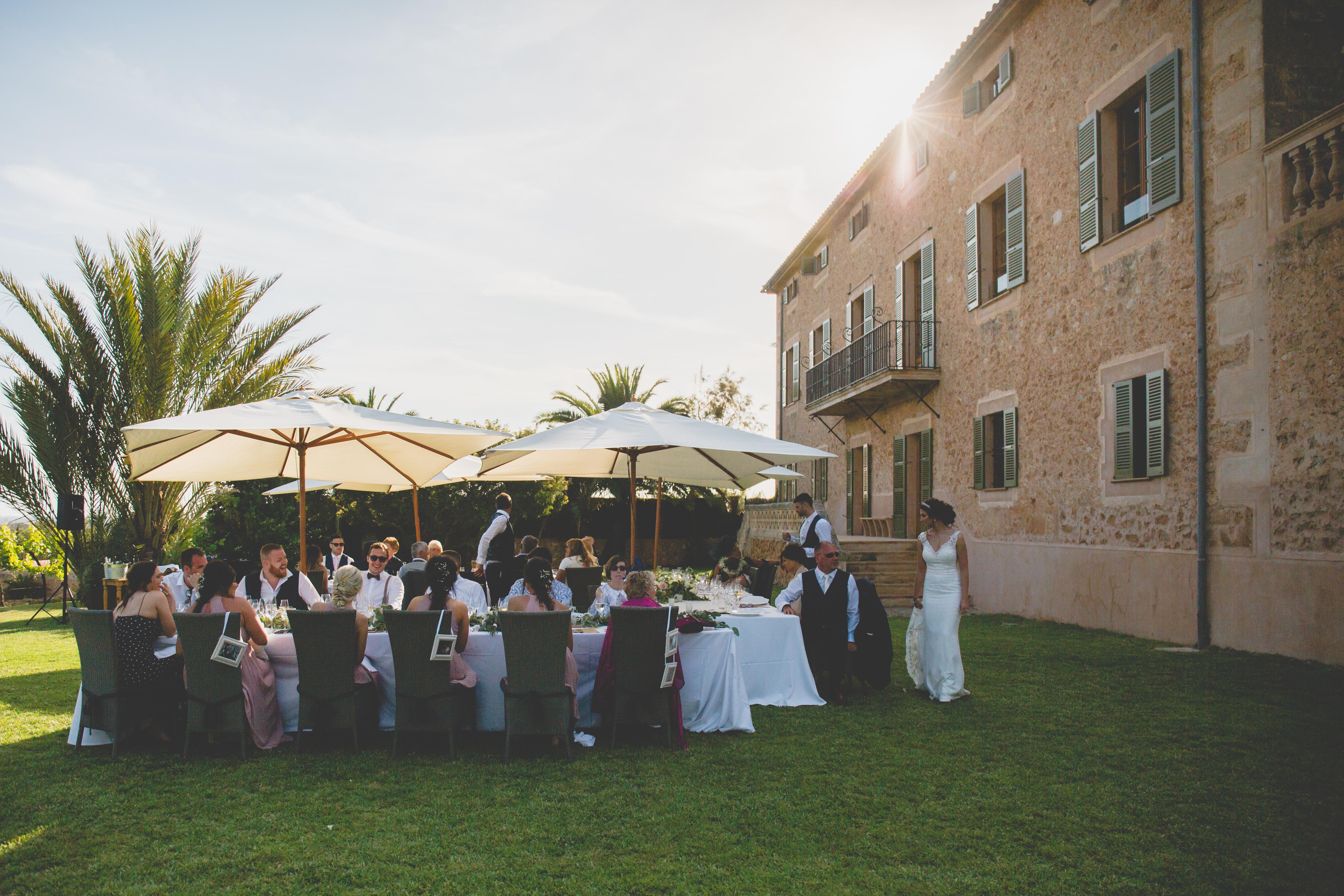 Wedding breakfast in the grounds of the fabulous finca