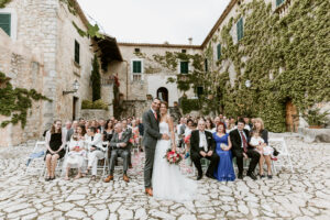The bridal party in the grounds of the stunning finca