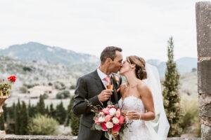 Bride and groom at their Mallorcan wedding finca
